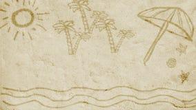 Insabbi l'animazione circa la vacanza, il mare e l'estate royalty illustrazione gratis