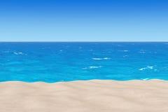 Insabbi la spiaggia di Sunny Tropical con l'oceano e molto spazio della copia 3d Fotografia Stock Libera da Diritti