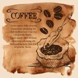 Insacchi con i chicchi di caffè su un fondo dell'acquerello Fotografia Stock Libera da Diritti