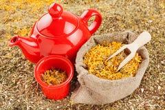 Insacchi con le erbe curative ed il bollitore di tè rosso Fotografia Stock
