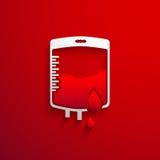 Insacchi il concetto di donazione di sangue con goccia rosso sangue e effetto ombra Fotografia Stock Libera da Diritti