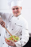 Insalata allegra di miscelazione del cuoco unico Fotografia Stock