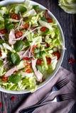 Insalata asiatica del manzo con il cetriolo, la lattuga ed i peperoncini rossi Immagini Stock Libere da Diritti