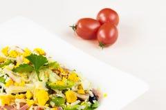 Insalata bulgara tradizionale del pastore con i pomodori, i peperoni, i cetrioli, i funghi, il prosciutto, il formaggio e le uova Immagine Stock