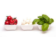 Insalata caprese in white bowls Royalty Free Stock Photography