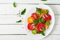 Insalata colorata del pomodoro con il pesto del basilico e della cipolla fotografia stock libera da diritti