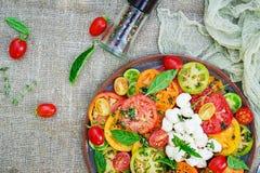 Insalata colorata del pomodoro con la mozzarella ed il basilico del formaggio immagini stock libere da diritti