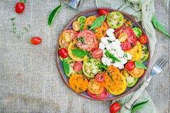 Insalata colorata del pomodoro con la mozzarella ed il basilico del formaggio immagini stock