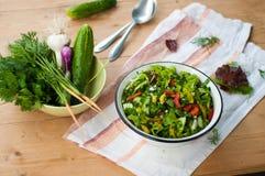 Insalata con gli ortaggi freschi e la lattuga Immagine Stock