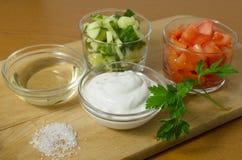 Insalata con i cetrioli, i pomodori e la panna acida, maionese Fotografie Stock Libere da Diritti