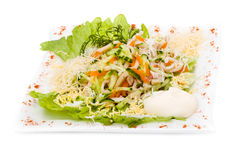 Insalata con i verdi assortiti, carne di maiale fritta, carote Fotografia Stock