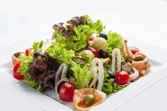 Insalata con il salmone ed i frutti di mare su un piatto bianco fotografie stock libere da diritti