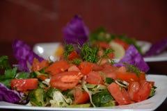 Insalata, con l'aperitivo in piatto bianco Fotografia Stock Libera da Diritti
