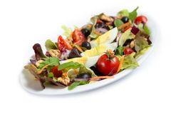Insalata con le verdure miste e le uova Fotografie Stock
