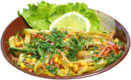 Insalata con mais, i cetrioli e la salsa al pomodoro Immagini Stock