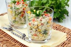 Insalata con riso, prezzemolo e le verdure Immagini Stock