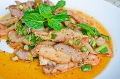 Insalata cotta piccante tailandese del porco Fotografia Stock Libera da Diritti