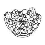 Insalata dai vari generi di frutta Singola icona della frutta nel web dell'illustrazione delle azione di simbolo di vettore di st illustrazione vettoriale