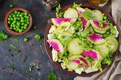 Insalata dalle foglie del ravanello, del cetriolo e della lattuga Alimento del vegano Menu dietetico fotografie stock
