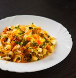 Insalata degli ortaggi freschi con cavolo e la carota in un piatto bianco Fotografia Stock