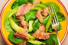Insalata degli spinaci con bacon Immagini Stock Libere da Diritti