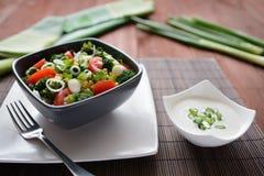 Insalata dei broccoli con i pomodori, il mais e la cipolla Fotografia Stock Libera da Diritti