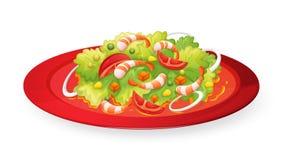 Insalata dei gamberetti in piatto rosso royalty illustrazione gratis