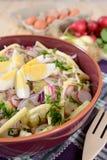 Insalata del cavolfiore con le patate, il formaggio a pasta dura, le uova, la cipolla rossa ed il ravanello Immagini Stock