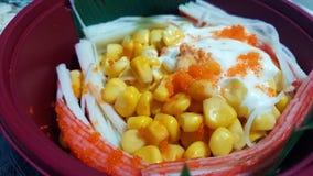 Insalata del granchio di Kani con la maionese del cereale Fotografia Stock Libera da Diritti