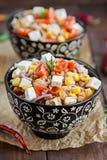 Insalata del grano saraceno con i pomodori e la feta Immagini Stock