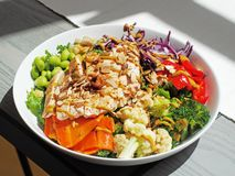 Insalata del petto di pollo con il cavolfiore broccoli e cavolo immagini stock libere da diritti