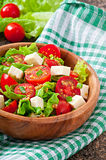 Insalata del pomodoro con lattuga, formaggio Fotografia Stock