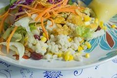 Insalata deliziosa con il pollo, i dadi e le verdure Fotografia Stock