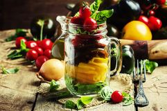 Insalata dell'arcobaleno dai wi variopinti dei pomodori, della cipolla, del pepe e del basilico immagini stock