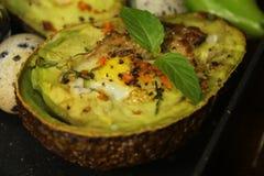 Insalata dell'avocado con l'uovo, pepe Fotografie Stock Libere da Diritti