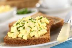 Insalata dell'uovo su pane tostato Fotografia Stock