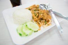 Insalata della miscela del pollo con riso, alimento tailandese Immagine Stock