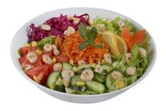 Insalata della verdura e del pesce su un fondo bianco Fotografie Stock Libere da Diritti
