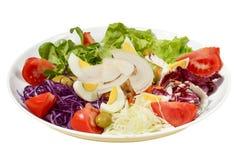 Insalata di Caesar classica sana fresca sul piatto con fondo bianco Fotografia Stock Libera da Diritti
