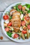 Insalata di Caesar con gli ortaggi freschi ed il pollo Fotografie Stock Libere da Diritti