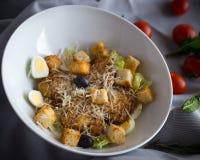 Insalata di Caesar con il pollo, i crostini croccanti e le foglie fresche della lattuga Immagine Stock Libera da Diritti