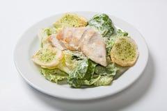Insalata di Caesar con il pollo sul piatto bianco Immagine Stock