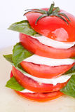 Insalata di Caprese con la mozzarella, il pomodoro ed il basilico Immagini Stock Libere da Diritti