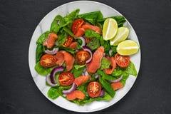 Insalata di color salmone con spinaci, i pomodori ciliegia, la cipolla rossa, il limone ed il basilico Concetto sano dell'aliment immagini stock libere da diritti