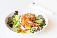 Insalata di Fried Chicken con i pomodori, il cetriolo e la cipolla Immagini Stock Libere da Diritti