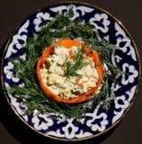 Insalata di Olivie con mayonnaisse Fotografia Stock Libera da Diritti