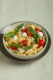 Insalata di pasta con i pomodori ciliegia e le foglie del basilico immagine stock