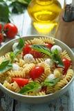 Insalata di pasta con i pomodori ciliegia e le foglie del basilico immagini stock