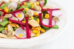 Insalata di pollo con Lima Beans, le barbabietole & gli spinaci Fotografie Stock
