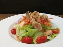 Insalata di tonno sana con il pomodoro della lattuga ed il condimento dell'all'aceto della luce in piatto bianco sulla tavola di  Immagini Stock